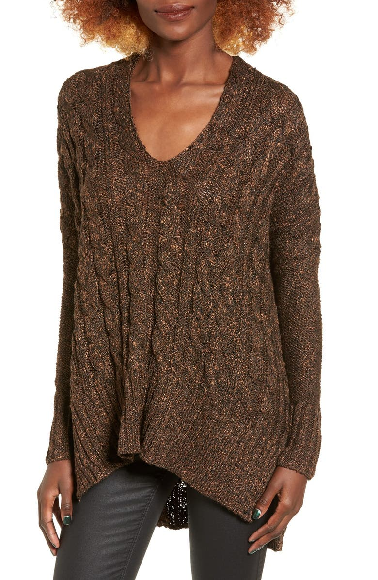 LOVE BY DESIGN Marled Cable Knit Pullover, Main, color, 001