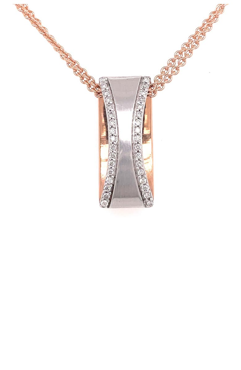 BREUNING 14K White Gold & 14K Rose Gold Pave Diamond Ring Pendant Necklace - 0.26 ctw, Main, color, SILVER