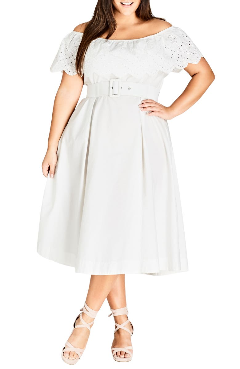 CITY CHIC Embroidered Off the Shoulder Fit & Flare Dress, Main, color, 109