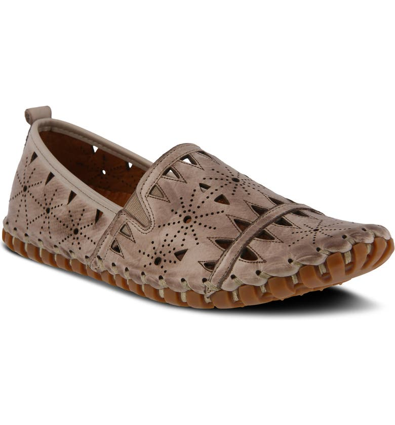 SPRING STEP Fusaro Flat, Main, color, GREY LEATHER