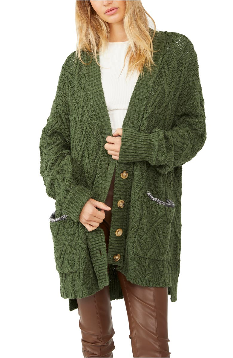 FREE PEOPLE Montana Cable Cotton Cardigan, Main, color, AGED PINE