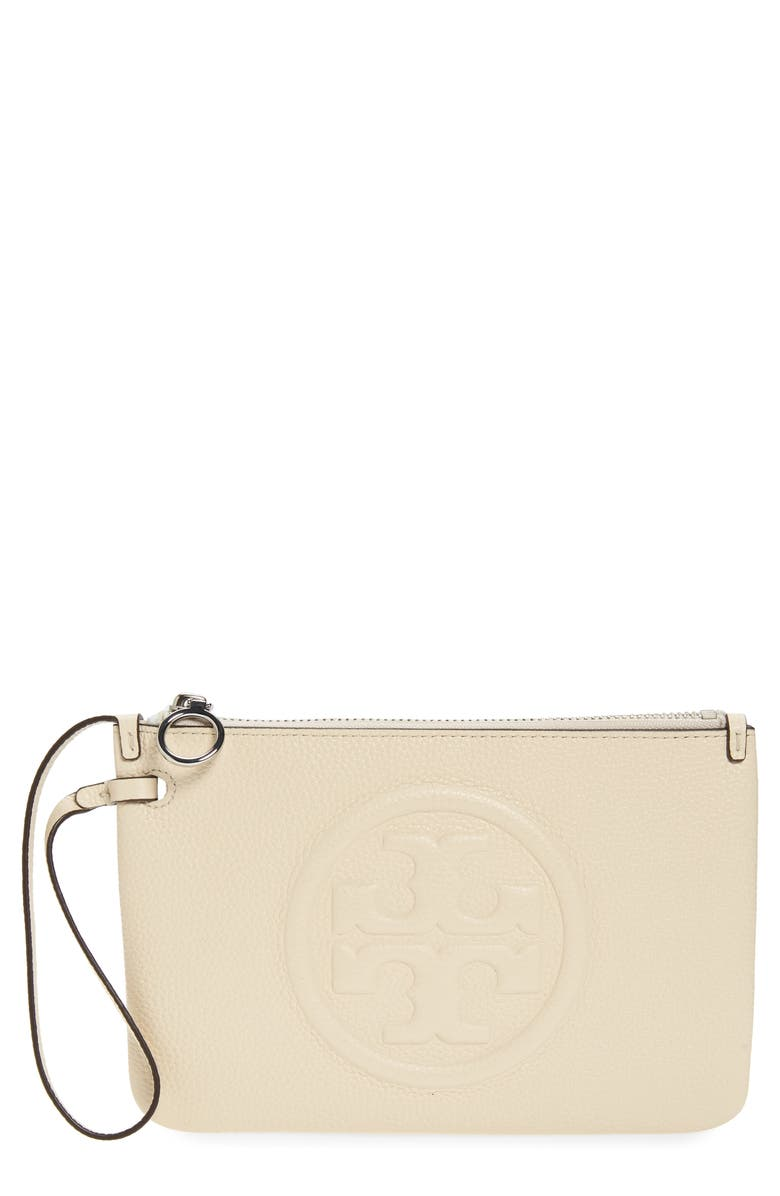 TORY BURCH Perry Leather Wristlet, Main, color, NEW CREAM