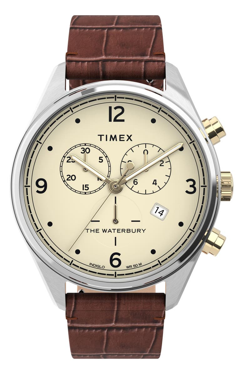 TIMEX<SUP>®</SUP> Waterbury Chronograph Leather Strap Watch, 42mm, Main, color, BROWN/ CREAM/ SILVER