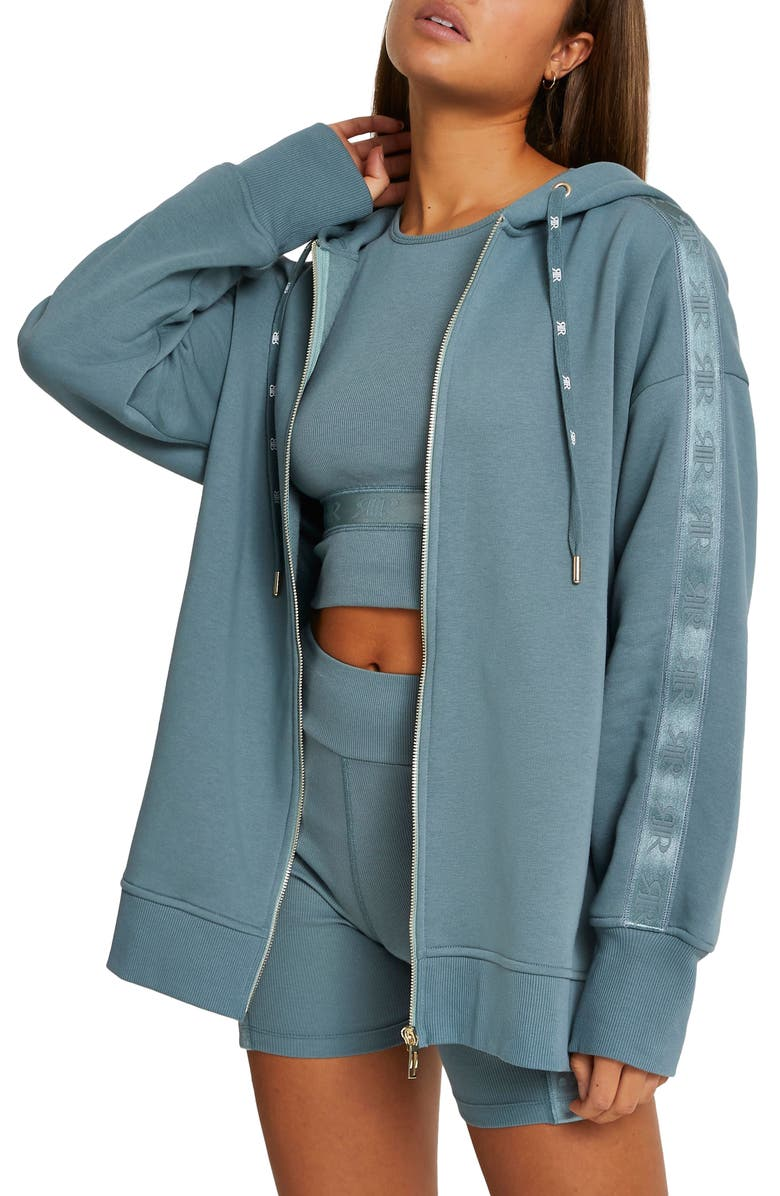 RIVER ISLAND Intimates Zip-Up Hoodie, Main, color, GREEN