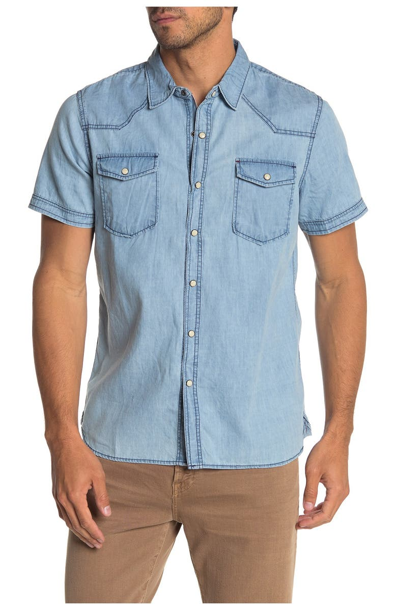 THREAD AND CLOTH Short Sleeve Denim Washed Shirt, Main, color, BLUE