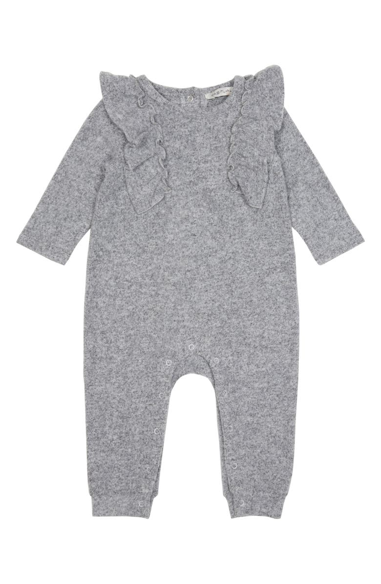 HABITUAL GIRL Habitual Mara Ruffle Hacci Knit Romper, Main, color, 020