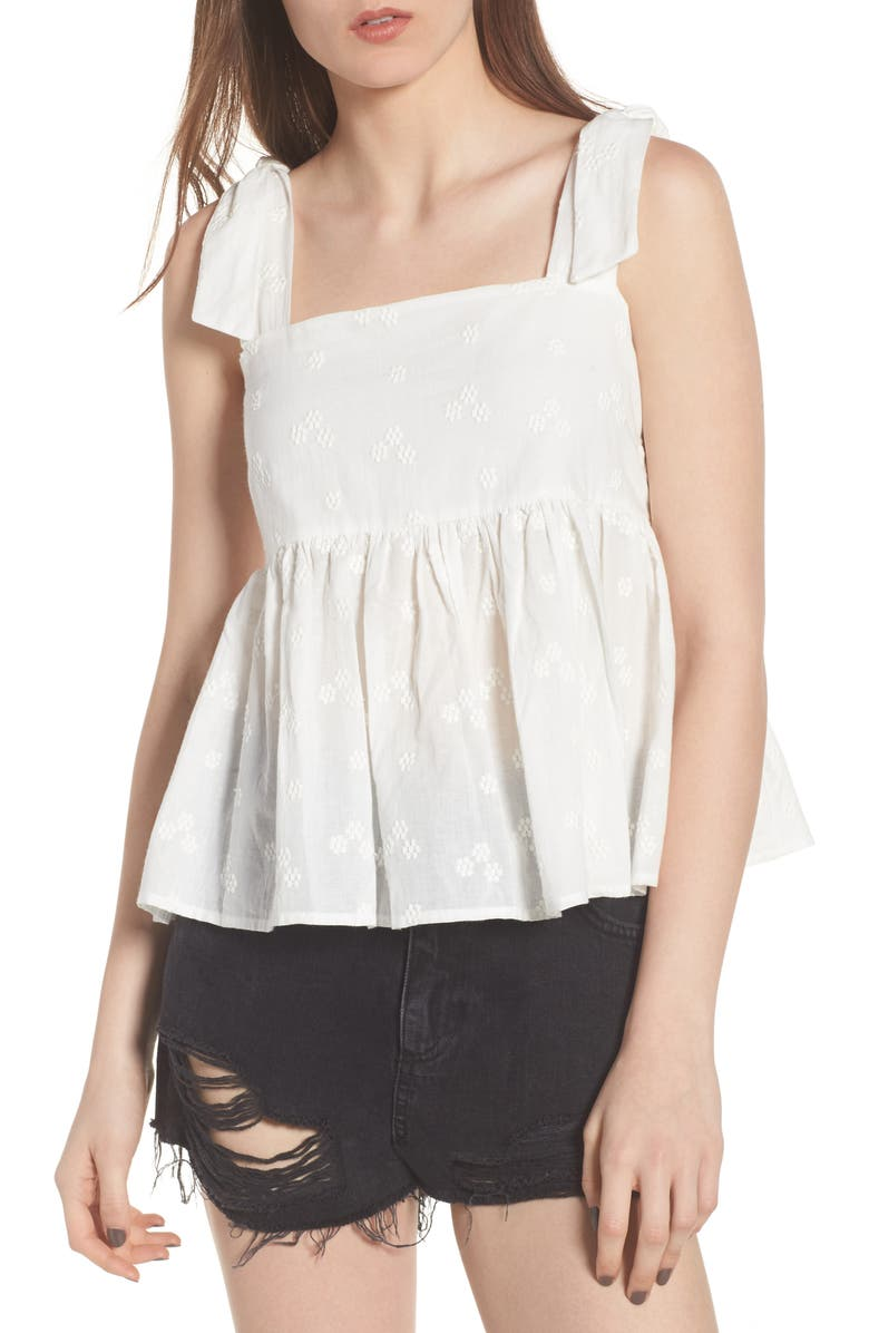 BP. Embroidered Peplum Tank, Main, color, White