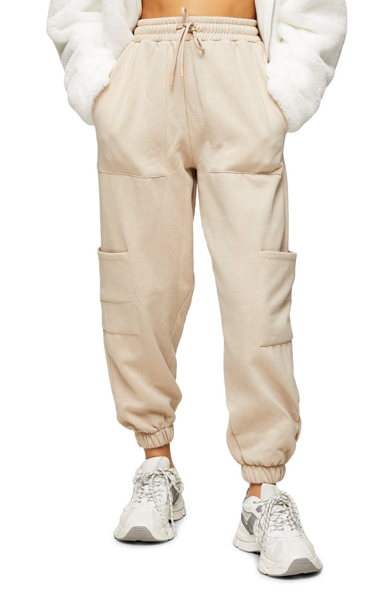TOPSHOP New Utility Joggers, Main, color, STONE