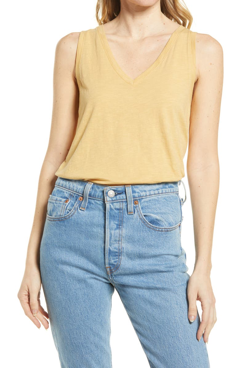 MADEWELL Whisper Shout Cotton V-Neck Tank, Main, color, AUTUMN GOLD