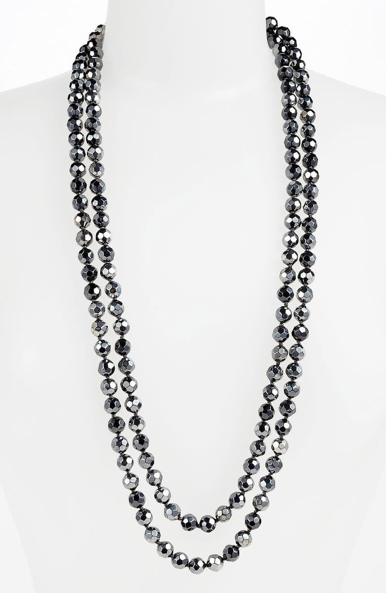 NORDSTROM Metallic Bead Extra Long Necklace, Main, color, 001