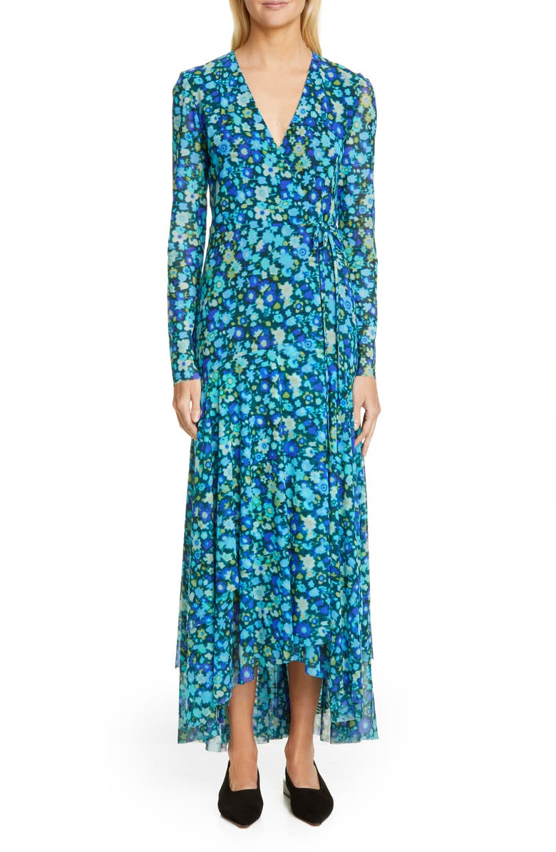 GANNI Floral Print Mesh Long Sleeve Maxi Wrap Dress, Main, color, 400