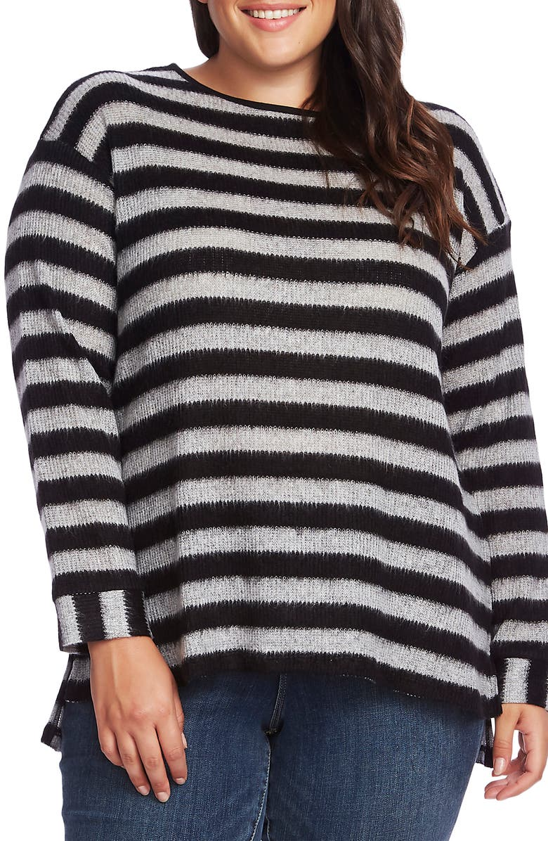 VINCE CAMUTO Fuzzy Stripe Boatneck Sweater, Main, color, 001
