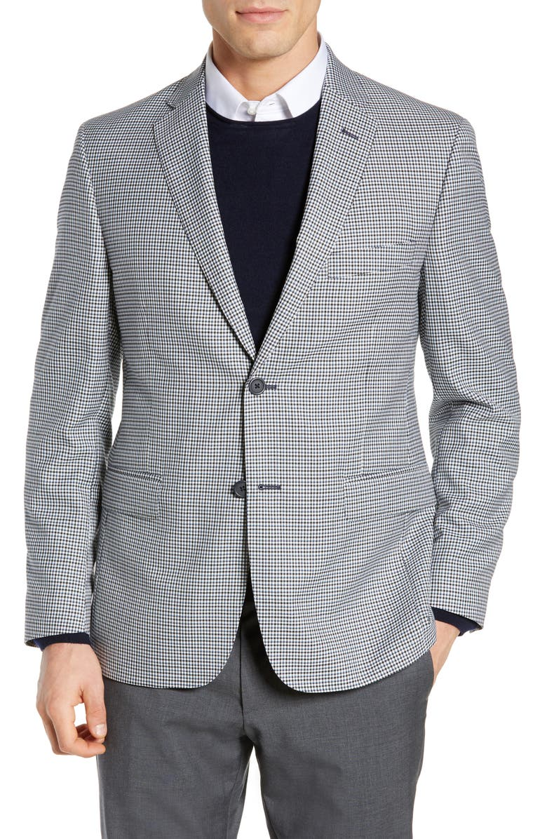 JB BRITCHES Classic Fit Check Wool Sport Coat, Main, color, 001