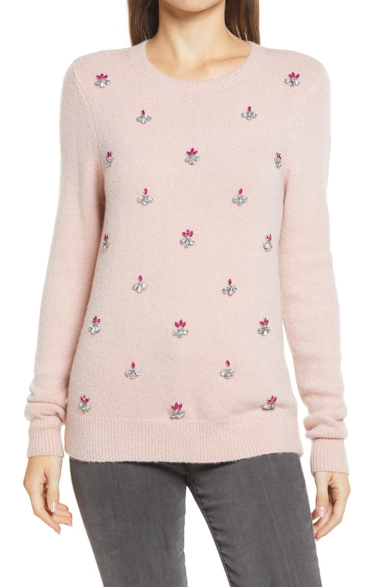 HALOGEN<SUP>®</SUP> Embellished Front Sweater, Main, color, PINK SMOKE