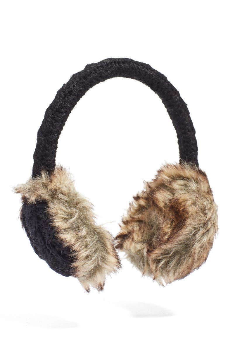 NIRVANNA DESIGNS Cable Knit Earmuffs, Main, color, 001