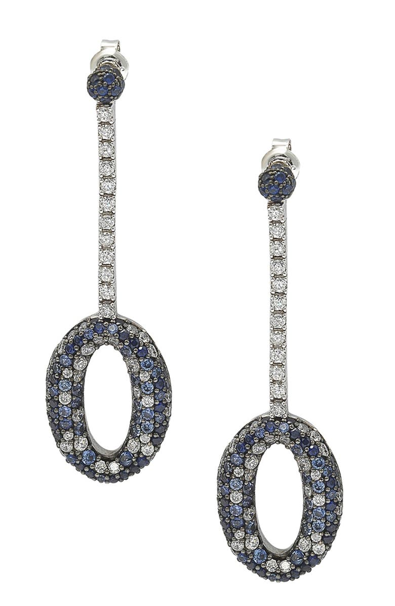 SUZY LEVIAN Two-Tone Blue Sapphire, Created White Sapphire Sterling Silver Earring - 0.02 ctw, Main, color, BLUE