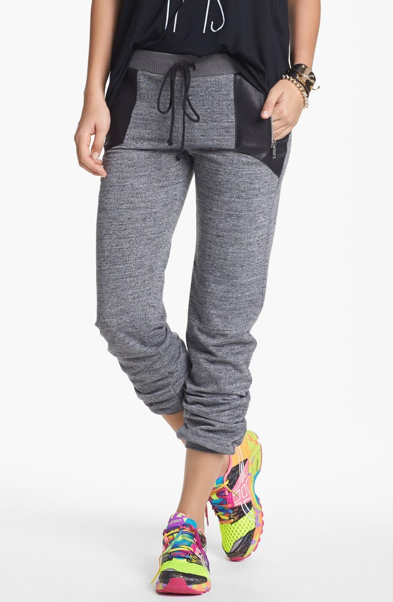 LILY WHITE Faux Leather Inset Sweatpants, Main, color, 020