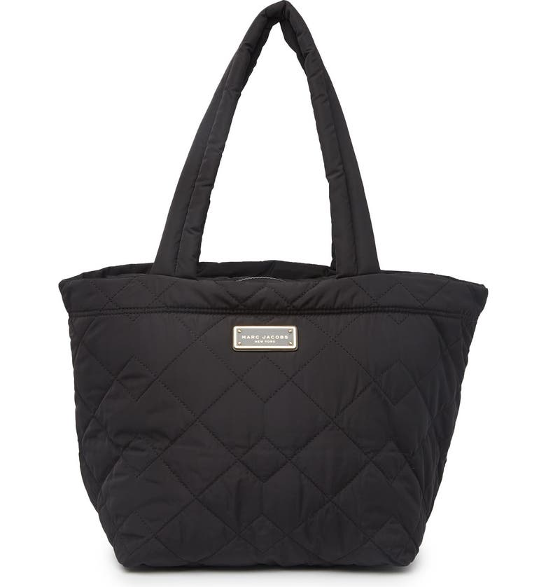 MARC JACOBS Quilted Nylon Medium Tote Bag, Main, color, BLACK