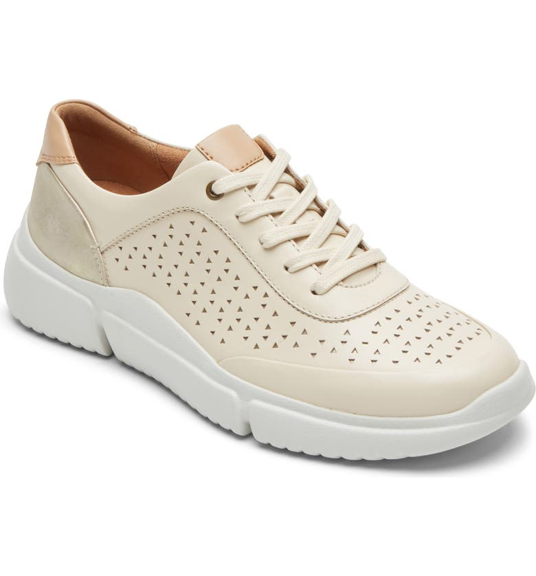 ROCKPORT COBB HILL Juna Perforated Sneaker, Main, color, VANILLA LEATHER