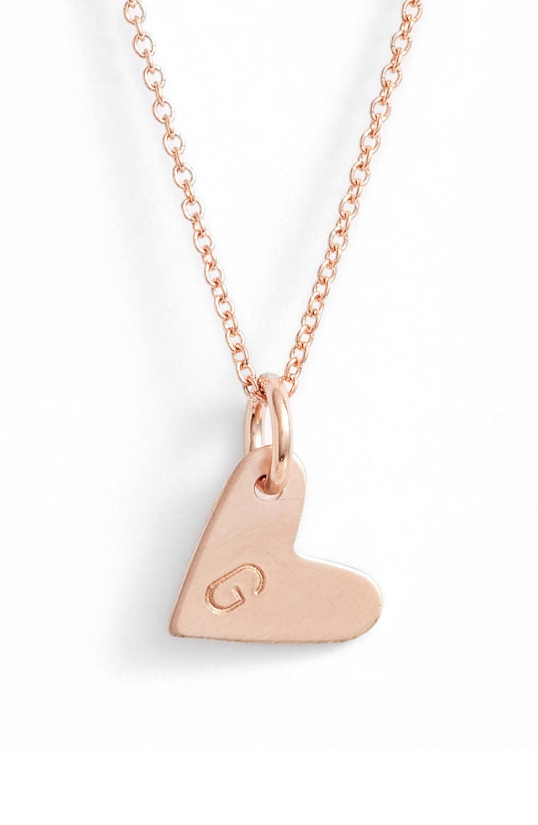 NASHELLE Initial Heart Pendant Necklace, Main, color, ROSE GOLD/ G