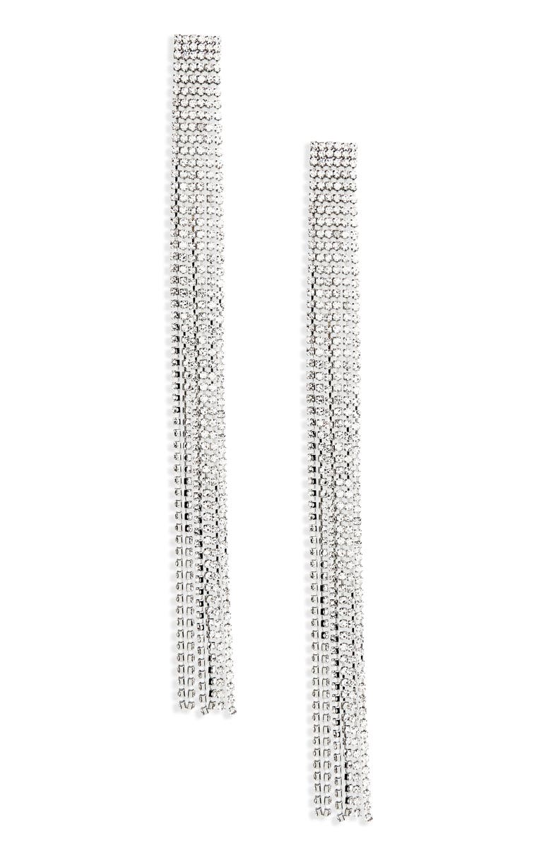 TOPSHOP Long Crystal Tassel Earrings, Main, color, 040