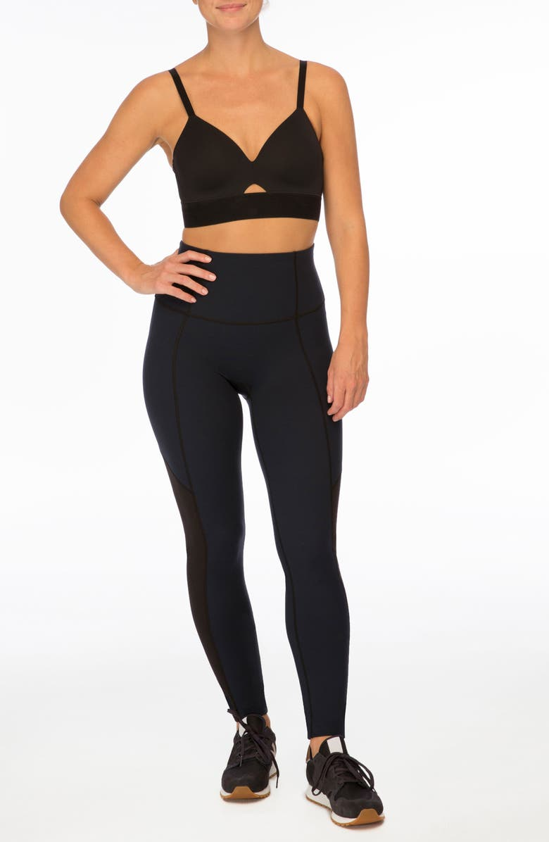 SPANX<SUP>®</SUP> Workout to Waves Mesh Panel Sports Bra, Main, color, 001