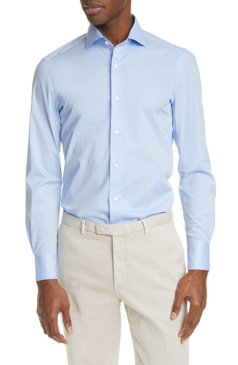 BOGLIOLI Trim Fit Stretch Cotton Button-Up Shirt, Main, color, BLUE