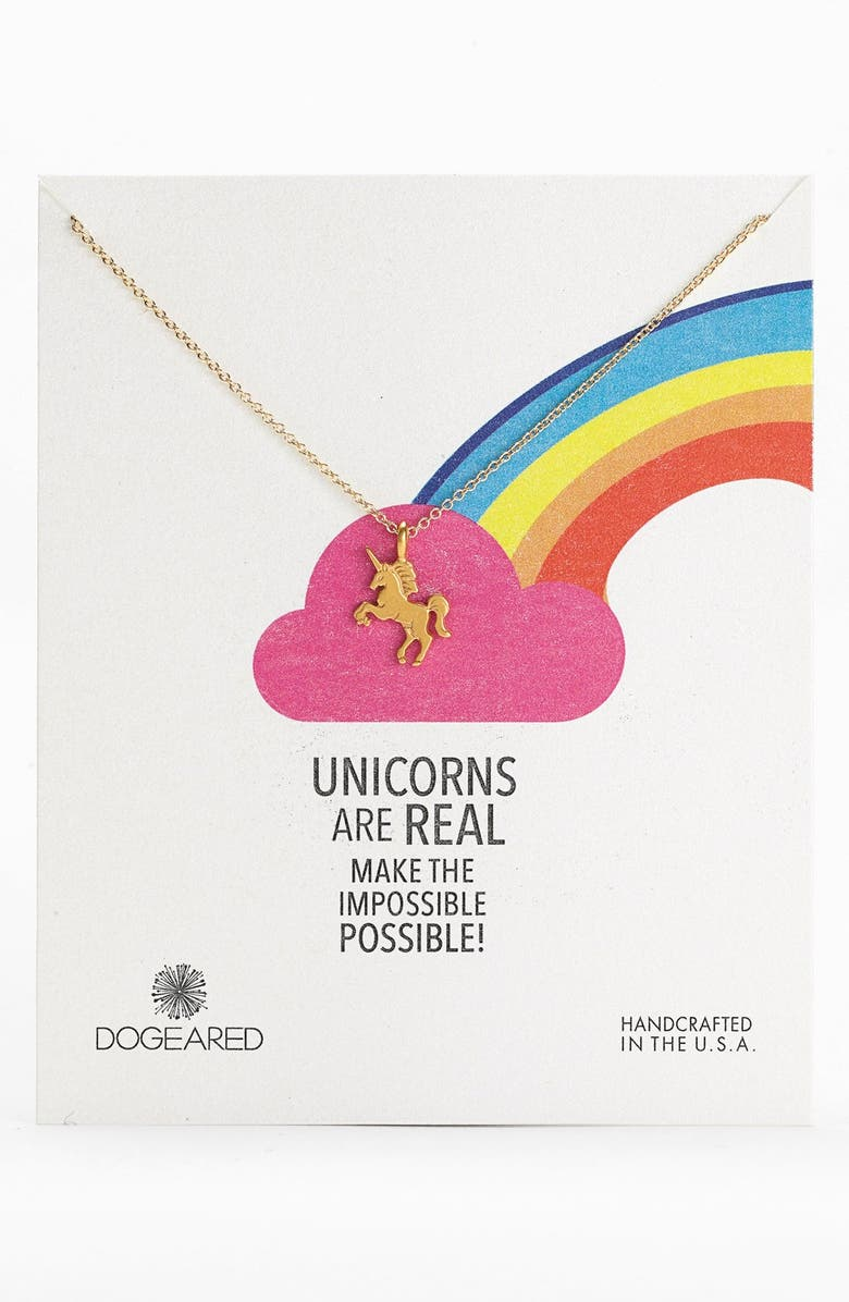 DOGEARED 'Unicorns are Real' Pendant Necklace, Main, color, 710