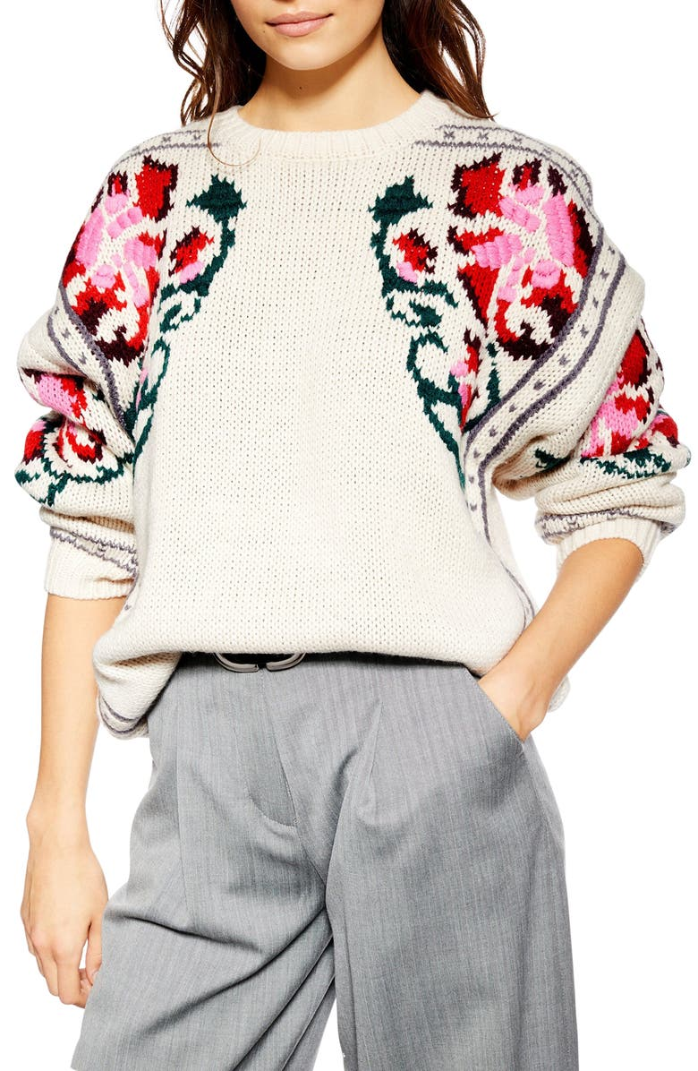 TOPSHOP Floral Border Embroidered Sweater, Main, color, 900