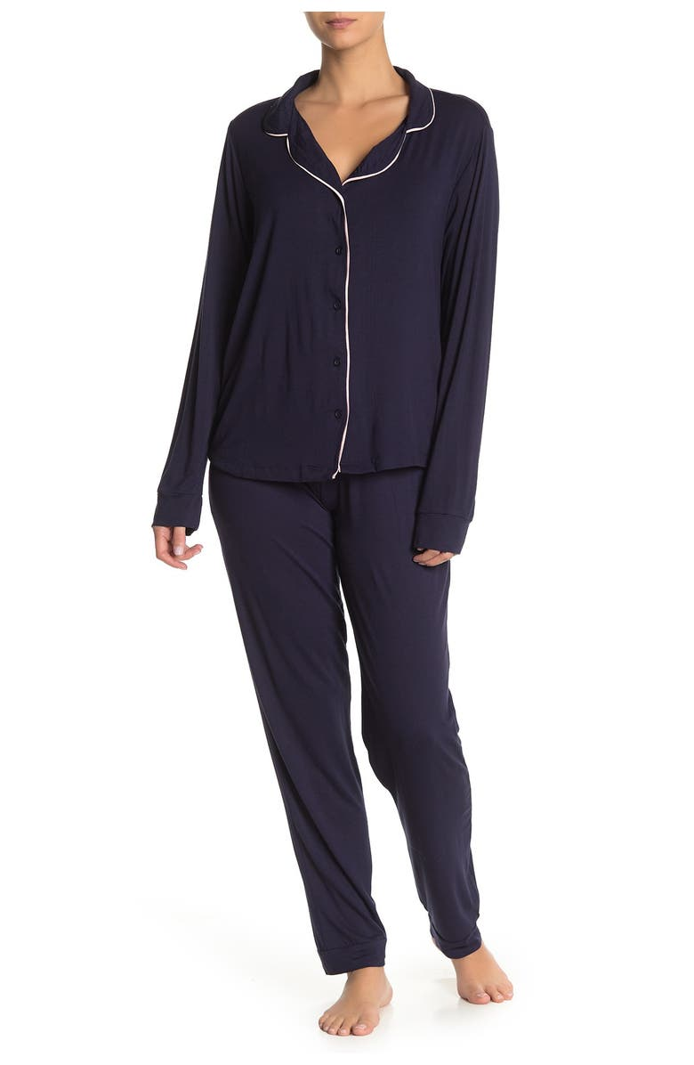 FRENCH CONNECTION Piped Trim Solid Pajama 2-Piece Set, Main, color, PEACOAT BLUE
