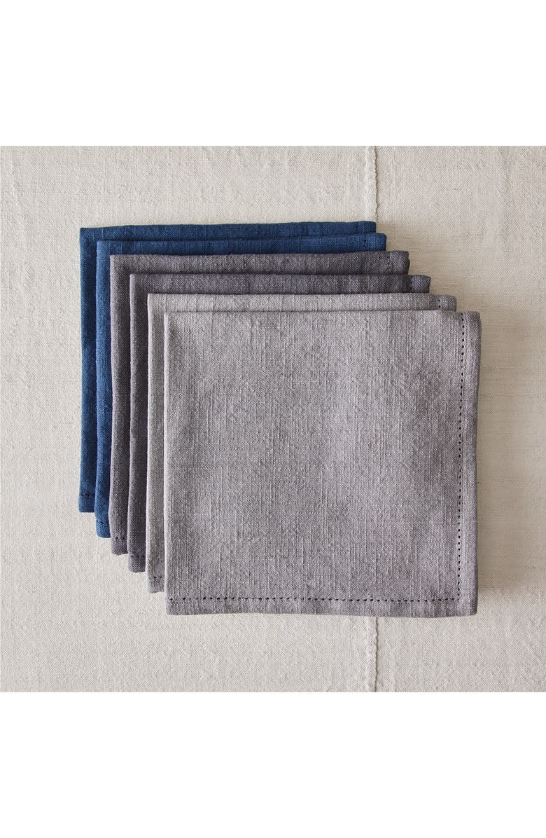 FIVE TWO BY FOOD52 Essential Multicolor Set of 6 Cotton Napkins, Main, color, COOL