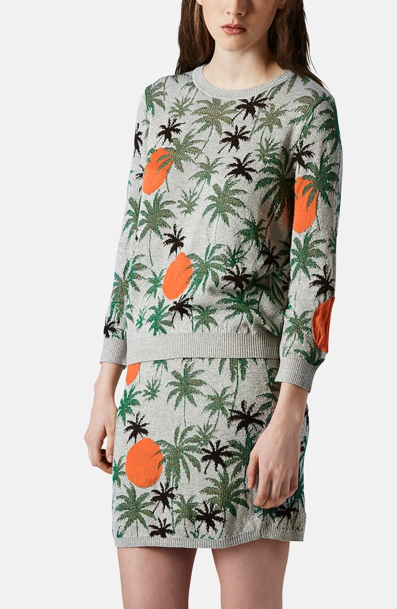 TOPSHOP Palm Tree Knit Sweater, Main, color, GREY MULTI