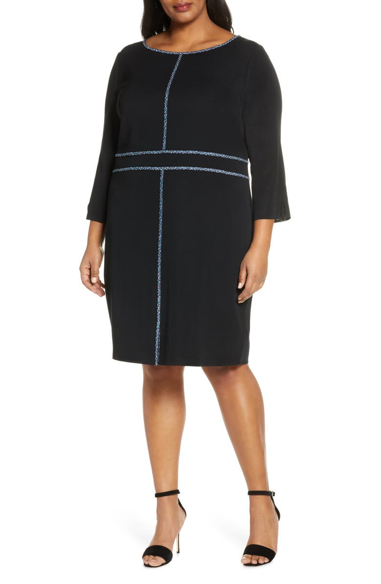 MING WANG Mosaic Trim Knit Dress, Main, color, 011