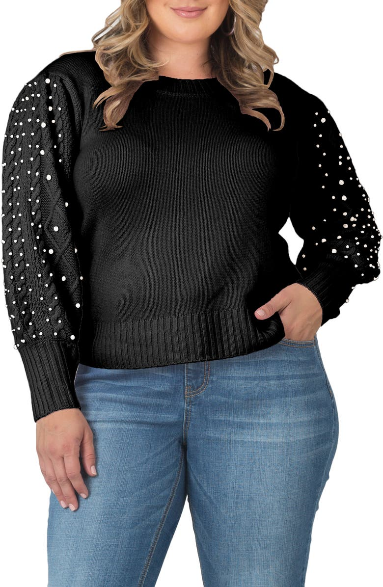 STANDARDS & PRACTICES Embellished Sleeve Cashmere Sweater, Main, color, 001