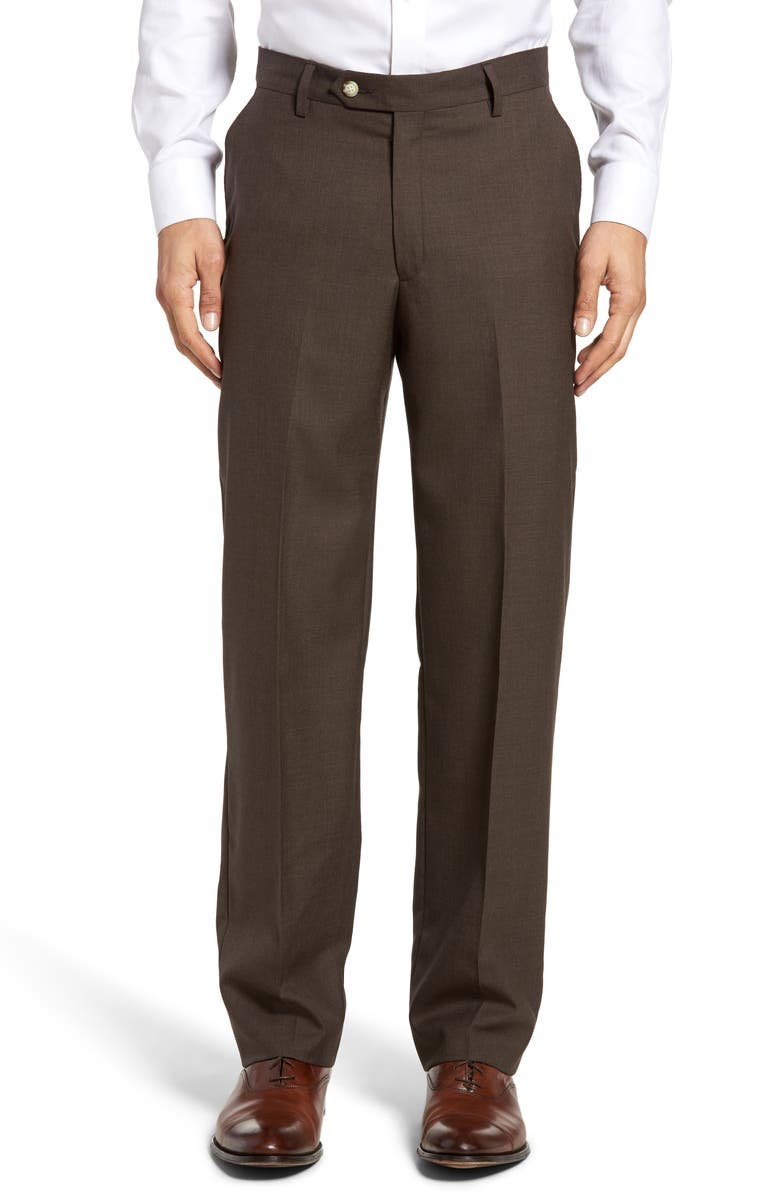 BERLE Lightweight Plain Weave Flat Front Classic Fit Trousers, Main, color, BROWN