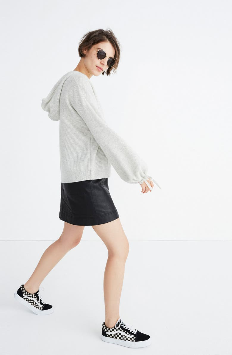MADEWELL Cashmere Hooded Sweater, Main, color, HEATHER SILVER