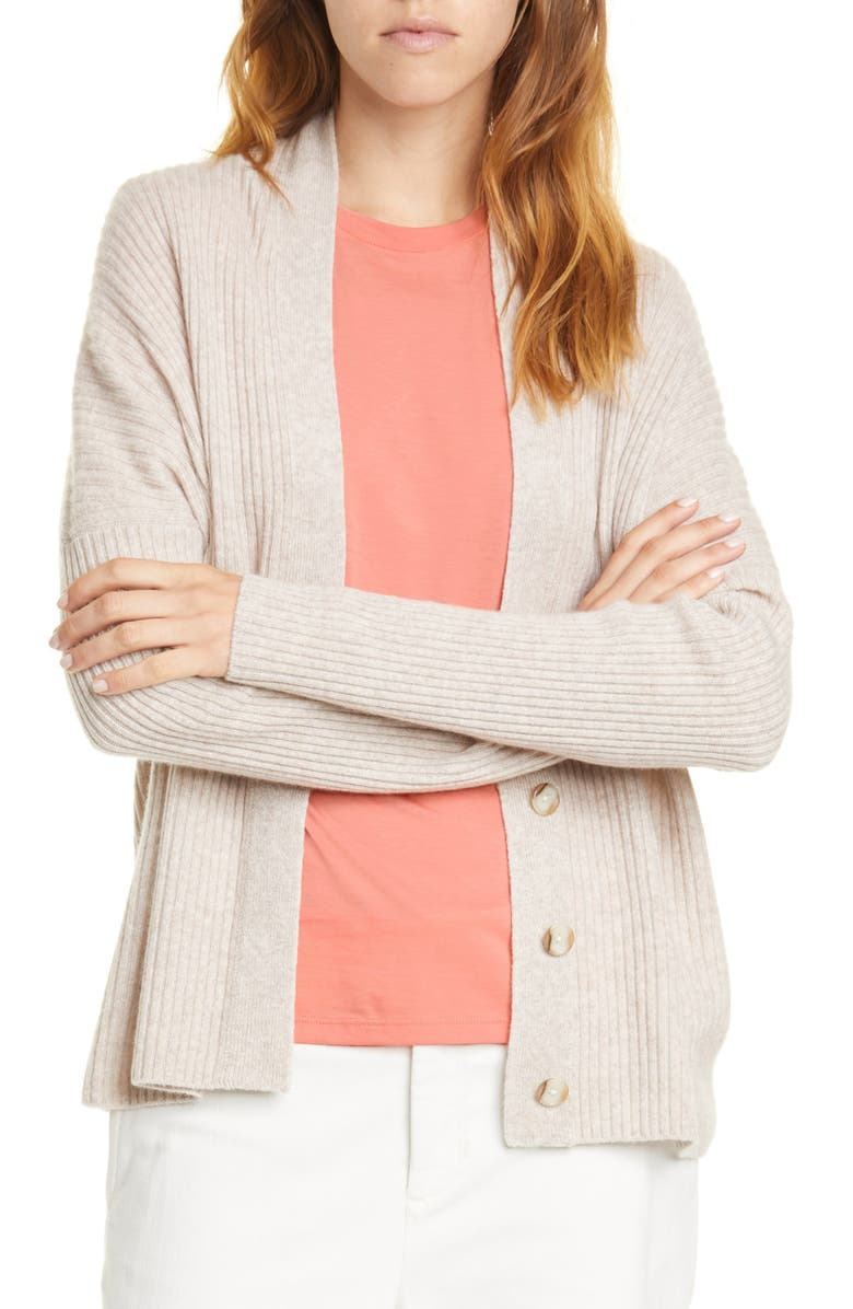 VINCE Rib Wool & Cashmere Cardigan, Main, color, 250