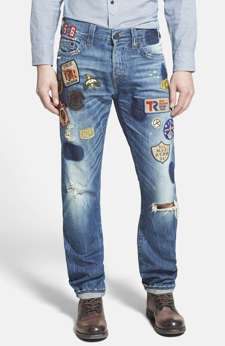 TRUE RELIGION BRAND JEANS 'Dean' Patchwork Modern Tapered Leg Jeans, Main, color, 400