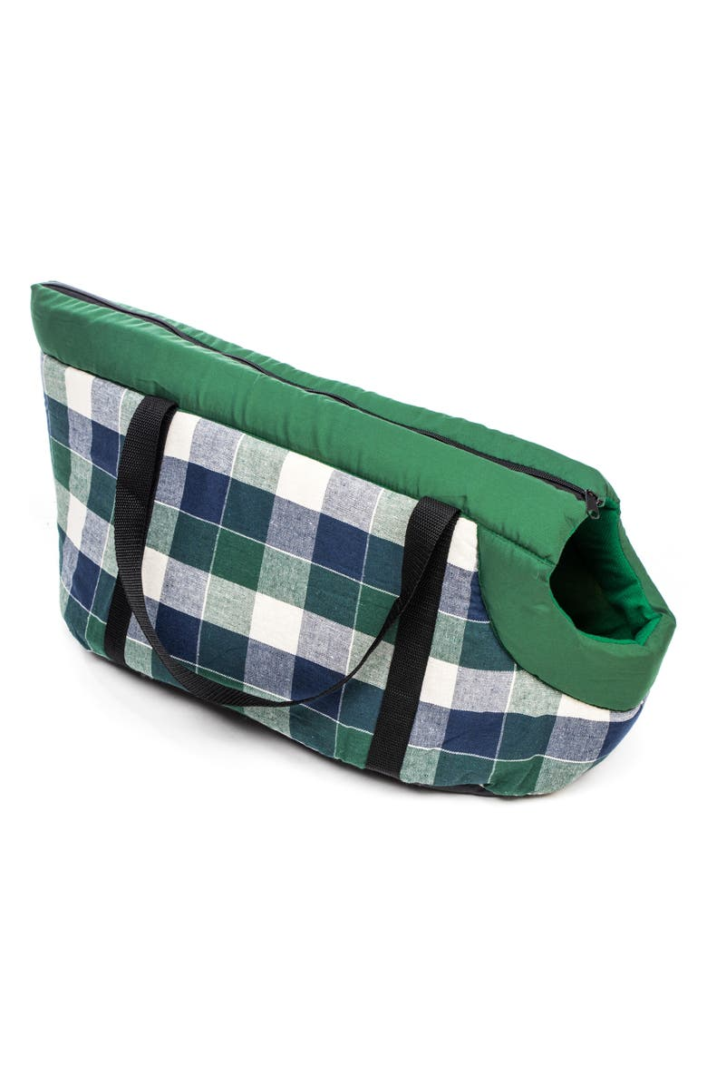 DUCK RIVER TEXTILE Hasley Chocolate Plaid Pet Carrier, Main, color, GREEN