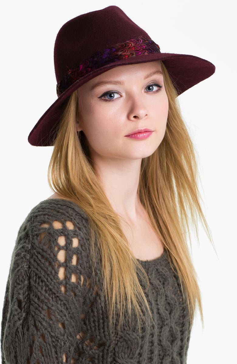 JUICY COUTURE 'Floppy' Wool Fedora, Main, color, DARK CABERNET