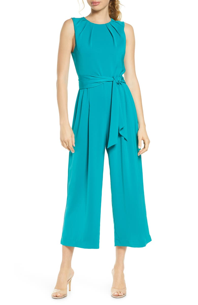 CHARLES HENRY Pleated Neck Sleeveless Culotte Jumpsuit, Main, color, 440