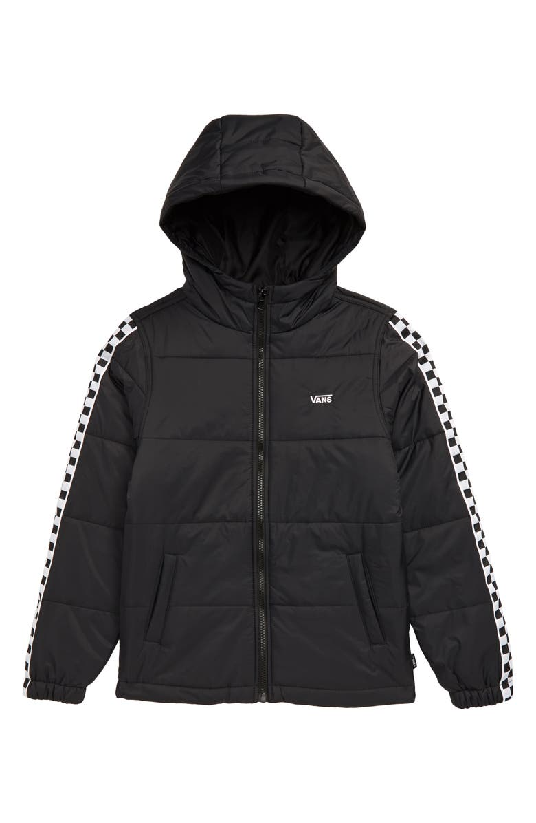 VANS Woodbridge Quilted Hooded Jacket, Main, color, BLACK/ CHECKERBOARD