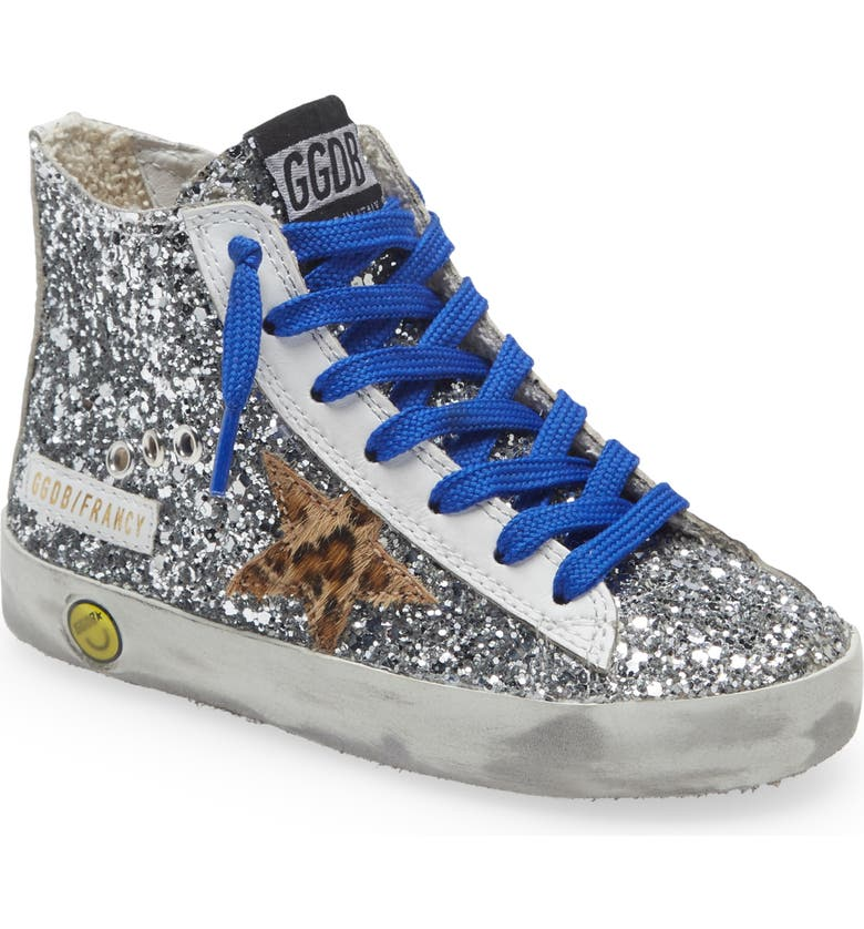 GOLDEN GOOSE Francy Glitter High Top Sneaker, Main, color, SILVER