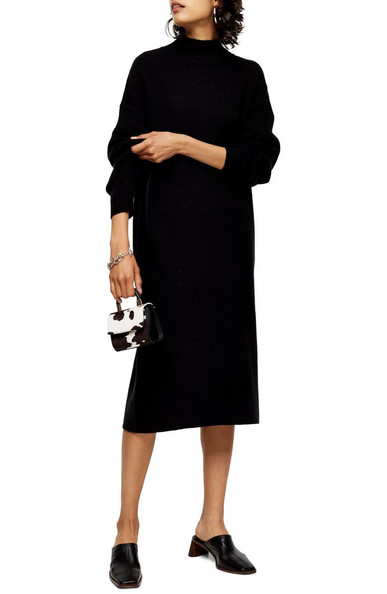 TOPSHOP Ribbed Long Sleeve Funnel Neck Midi Sweater Dress, Main, color, 001