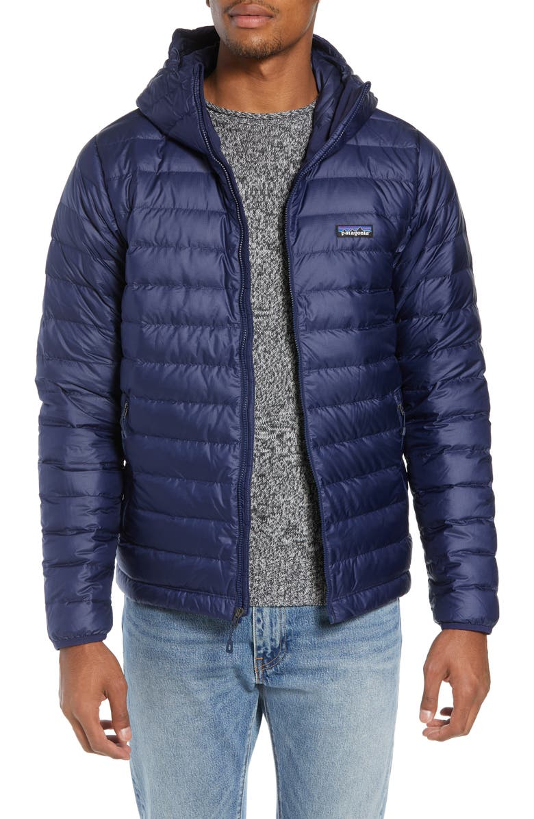 PATAGONIA Packable Windproof & Water Repellent Down Hooded Jacket, Main, color, CLASSIC NAVY