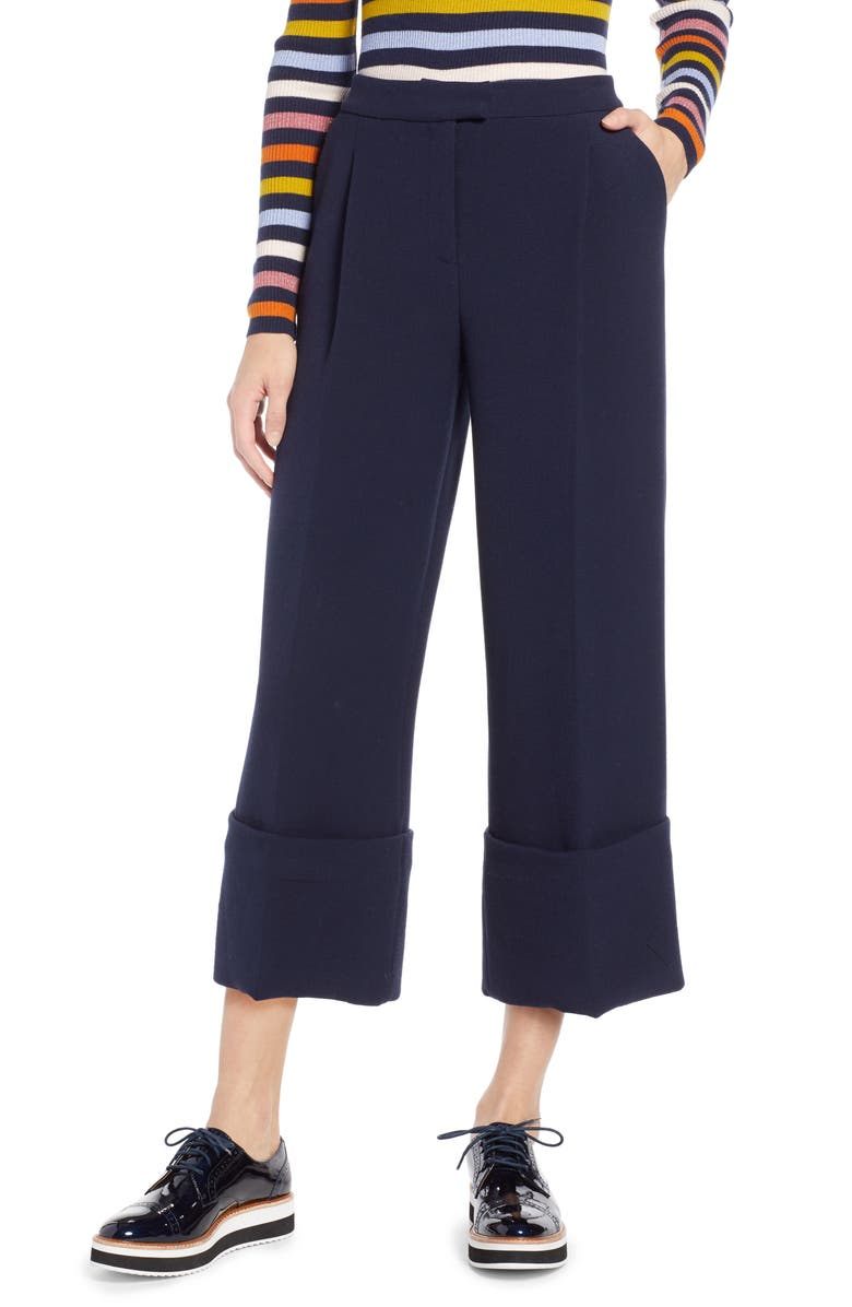 HALOGEN<SUP>®</SUP> x Atlantic-Pacific High Waist Wide Cuff Ankle Pants, Main, color, NAVY