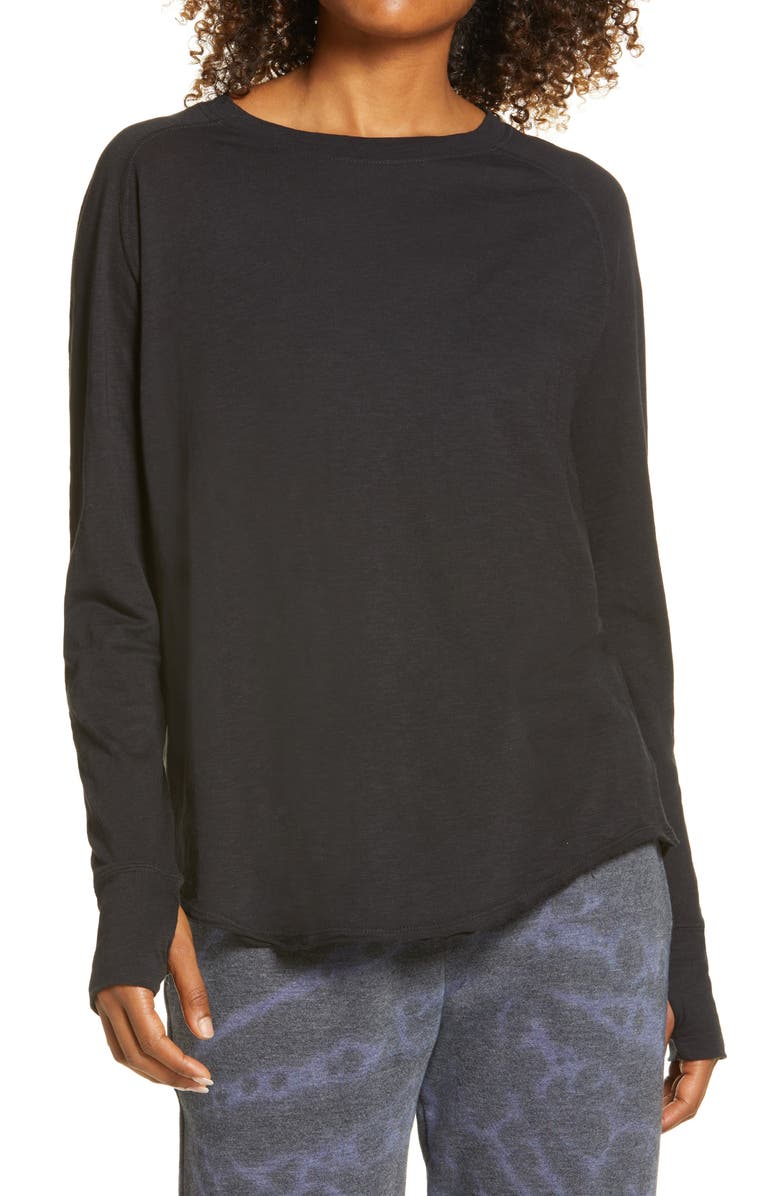 ZELLA Relaxed Long Sleeve T-Shirt, Main, color, BLACK