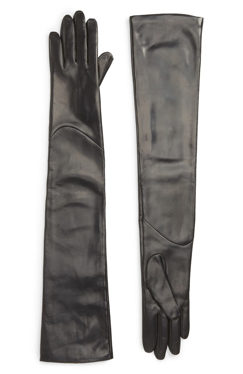 NORDSTROM Extra Long Leather Opera Gloves, Main, color, Black