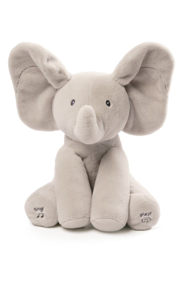 GUND Baby Gund Flappy The Elephant Musical Stuffed Animal, Main, color, Grey