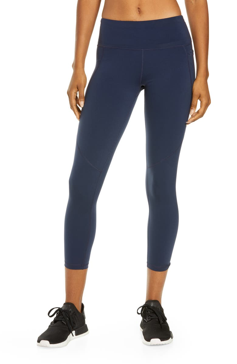 SWEATY BETTY Power Pocket Workout 7/8 Leggings, Main, color, NAVY
